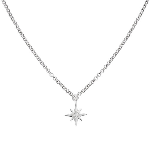 Diamond Star Necklace | White Gold