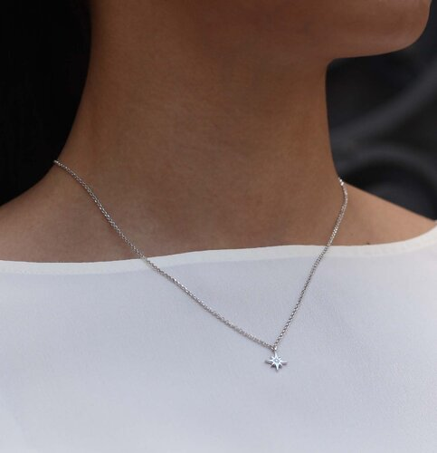 Diamond Star Necklace | Rhodium Plated