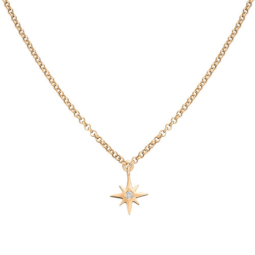Diamond Star Necklace | Yellow Gold Plated