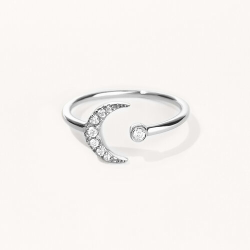 Moon Ring | Rhodium Plated