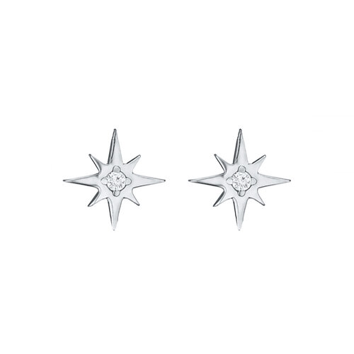 Star Earrings | Rhodium Plated