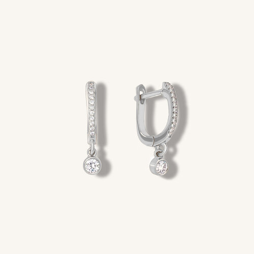 Dot Earrings  | Rhodium Plated